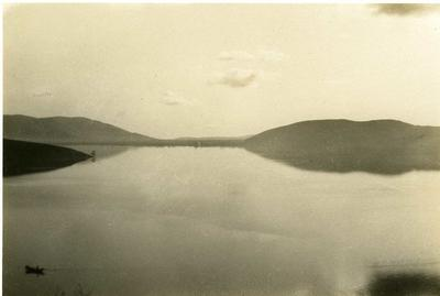Black and white photograph of the lake in Kastoria - Balkan War 1912-1913