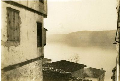 Black and white photograph of the view from Bishop's House in Kastoria - Balkan War 1912-1913