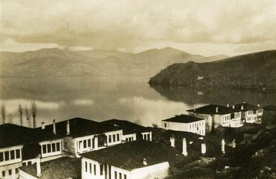 Black and white photograph of the building in Kastoria occupied by the British Red Cross mission - Balkan War 1912-1913