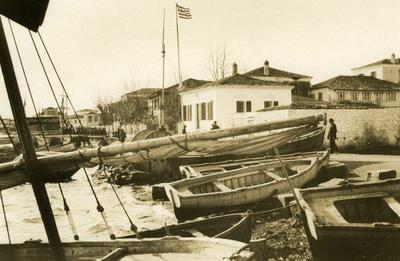 Black and white photograph of the Port Captain's house in Preveza - Balkan War 1912-1913