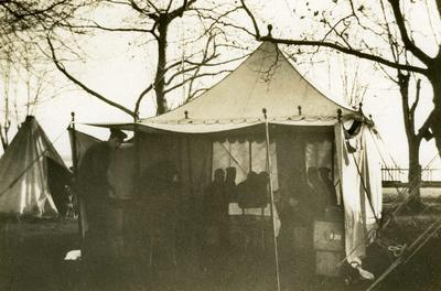 Black and white photograph of the Officer's mess-tent on the British Red Cross mission, Preveza - Balkan War 1912-1913