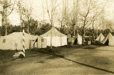 Black and white photograph of the British Red Cross mission camp at Preveza - Balkan War 1912-1913