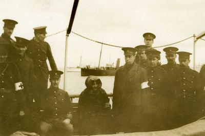 Black and white photograph of Princess George of Greece on board her hospital ship Albania with some members of the British Red Cross mission - Balkan War 1912-1913