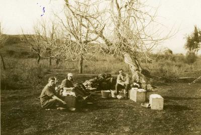 Black and white photograph of Dr Welch and Dr Walker with orderlies in the bivouwac at Philippiadas - Balkan War 1912-1913