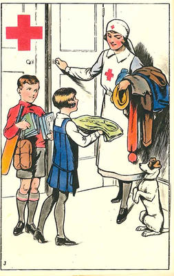 Colour postcard for the Junior Red Cross December 1929