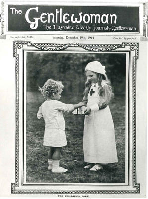 Black and white photograph of the front cover of The Gentlewoman dated 1914
