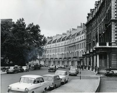 Black and white photograph of the exterior of BRC NHQ Grosvenor Crescent