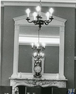 Black and white photograph of the interior of BRC NHQ Grosvenor Crescent