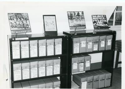 Black and white photograph of the BRCS archive display at Barnett Hill