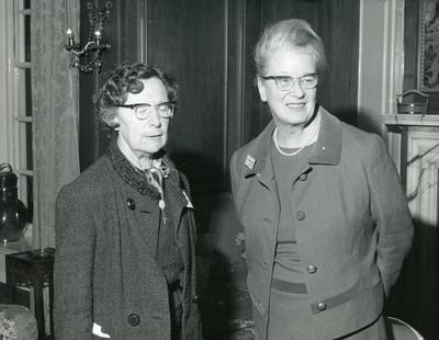 Black and white photograph of Dame Anne Bryans and Miss Trouteaud Guernsey at the Branch Presidents Conference at Barnett Hill