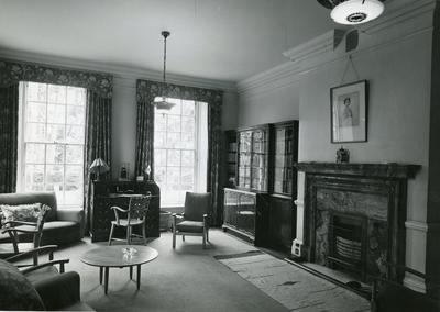 Black and white photograph of the interior of Barnett Hill