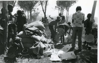 Black and white photograph of Red Cross work in Angola 1980
