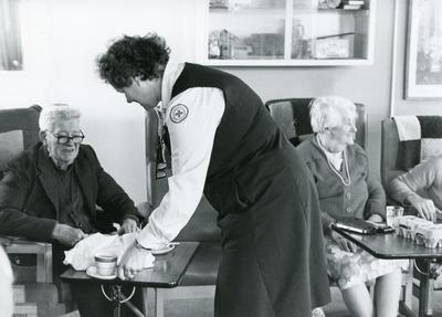 Black and white photograph used in Red Cross News of an day centre for the elderly