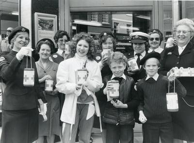 Black and white photograph used in Red Cross News featuring Bonnie Langford