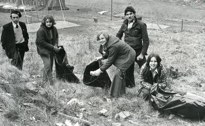 Black and white photograph from Red Cross News June 1976 of cadets form Mid-Glamorgan who raised money with a sponsored clear-up of their valley