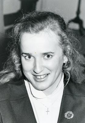 Black and white photograph from Red Cross News 1980s of Deborah Bemrose