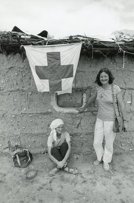 Black and white photograph from Red Cross News of Christine Whewell and Margaret Betteridge in Somalia 1981