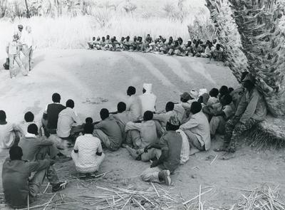 Black and white photograph of ICRC visiting POW's in Chad 1978