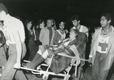 Black and white photograph from Red Cross News 1980s of ICRC work in the Lebanon