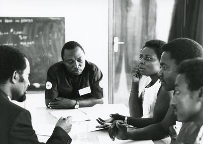 Black and white photograph of ICRC First Aid Workshops in Africa
