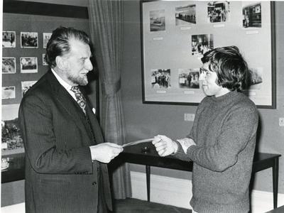 Black and white photograph of Sir Evelyn Shuckburgh and Jonathan Dimbleby