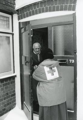 Black and white photograph of welfare service at Croxley Green Hertfordshire