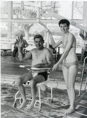 Black and white photograph of a Red Cross holiday for the disabled in Lowestoft