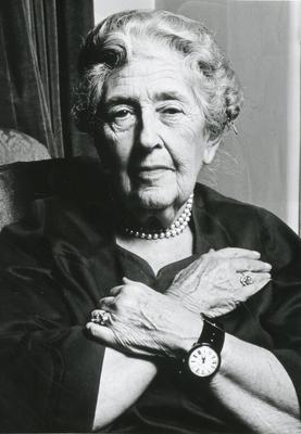 Black and white photograph of Agatha Christie