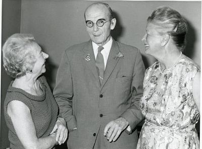 Black and white photograph of Major Hilton-Sargeant at his retirement with Dame Anne Bryans