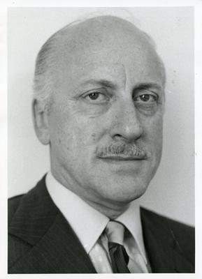 Black and white photograph of Donald Piggott, British Red Cross Director of International and Overseas Affairs
