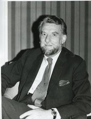 Black and white photograph of Sir Evelyn Shuckburgh, Chairman of the British Red Cross