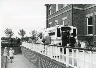 Black and white photograph of First Aid in Staffordshire at the National Garden Festival in Stoke on Trent