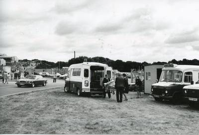 Black and white photograph of First Aid at Farnborough Air Show