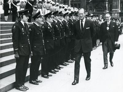 Black and white photograph of the Duke of Edinburgh at the Annual Service of Dedication at St Pauls Cathedral