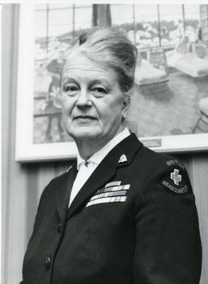 Black and white photograph of Dame Anne Bryans, Vice-Chairman of the Executive Committee