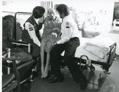 Black and white photograph of Welfare services in hospitals