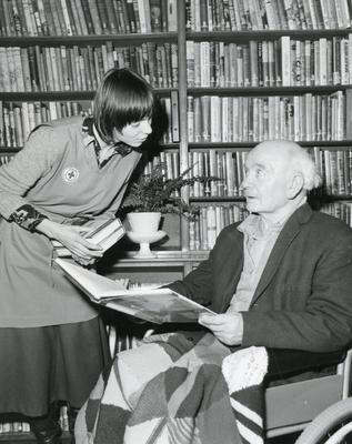 Black and white photograph of the Hospital Library Service