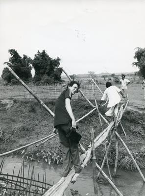 Black and white photograph of relief work in Bangladesh
