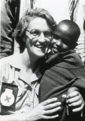 Black and white photograph of relief work in Ethiopia