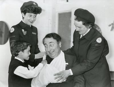 Black and white photograph of First Aid education