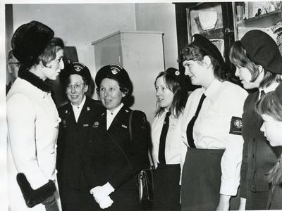Black and white photograph of Princess Alexandra visiting Gloucester branch