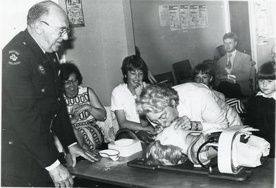 Black and white photograph of first aid demonstrations in Grimsby