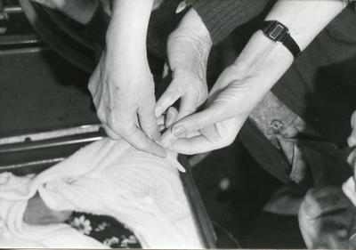 Black and white photograph of Beauty Care services