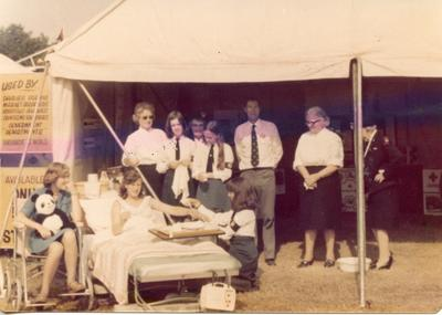 Colour photograph of a 'Nursing for the Family' demonstration at the Kent County Show in Maidstone 1976