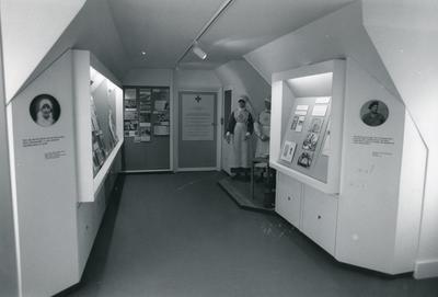 Black and white photograph of a British Red Cross museum display