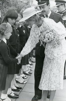 Black and white photograph of Princess Diana meeting Red Cross cadets in County Durham