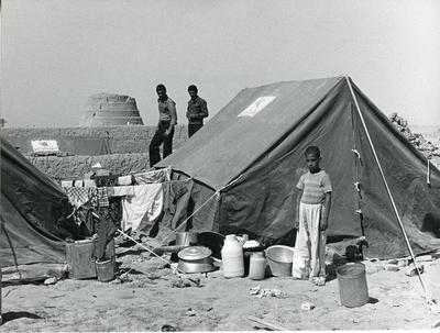 Black and white photograph of relief work after the Iranian Earthquake September 1978