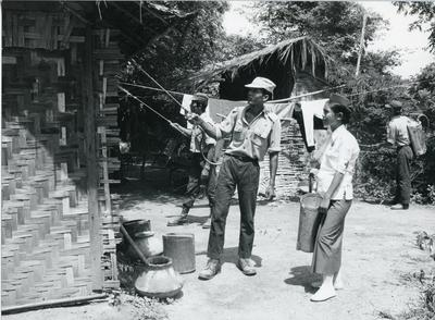 Black and white photograph of the Burma Red Cross Society