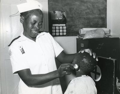 Black and white photograph of the Zimbabwe Red Cross Society