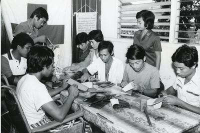 Black and white photograph of the Phillippines Red Cross Society